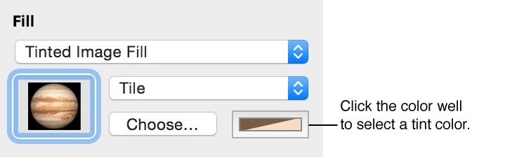 Controls for Tinted Image Fill option in Graphic inspector