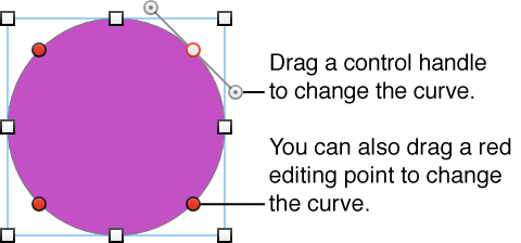 Circle shape with editing points and handles for changing curve