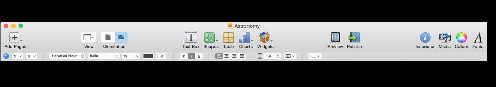 Format bar below toolbar
