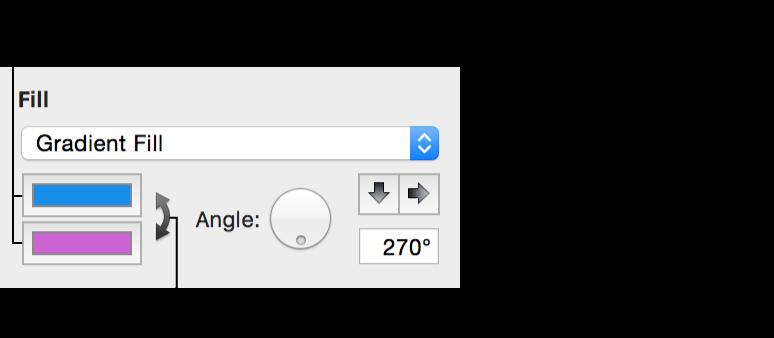 グラフィックインスペクタの「グラデーション塗りつぶし」オプションのコントロール