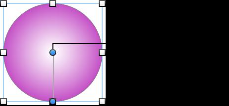 放射状グラデーションを調整するための編集ポイント