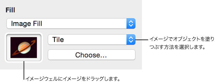 グラフィックインスペクタの「イメージ塗りつぶし」オプションのコントロール