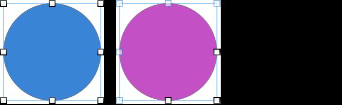 選択ハンドルが表示されたフローティングオブジェクトとインラインオブジェクトの例