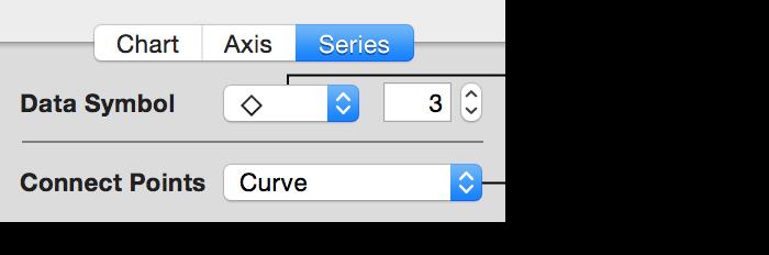 Елементи керування точками даних на панелі «Ряд» в інспекторі діаграм