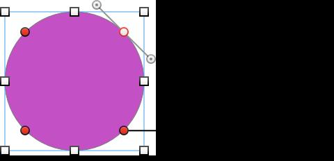 Кругла фігура з точками редагування й регуляторами, які дозволяють змінювати криву