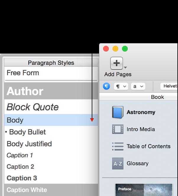 Mũi tên màu đỏ trong ngăn chứa Kiểu biểu thị mục thay thế kiểu