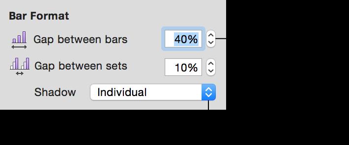 """""""图表""""检查器中的""""条形图格式""""控制"""