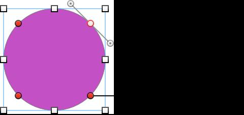 带有编辑点和控制柄(用于更改曲线)的圆形形状