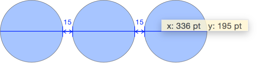 拖移中的对象,叠层中显示有 x 和 y 坐标值
