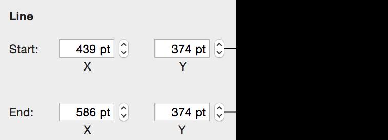 「計量」檢閱器顯示線條端點的 x 和 y 座標