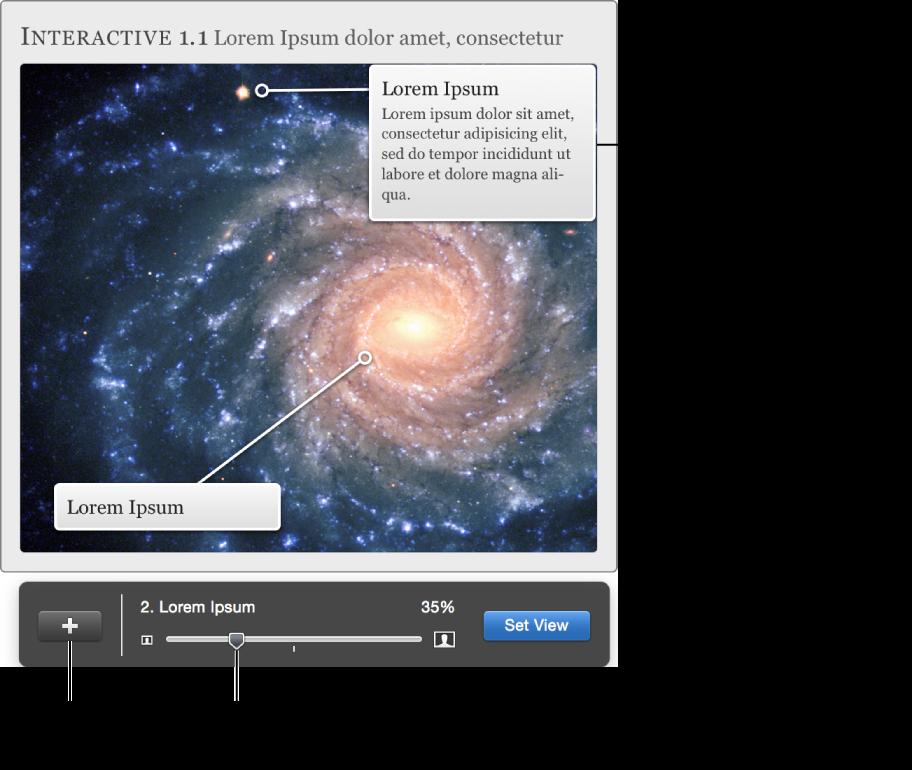 包含用於調整顯示方式的「互動影像」widget