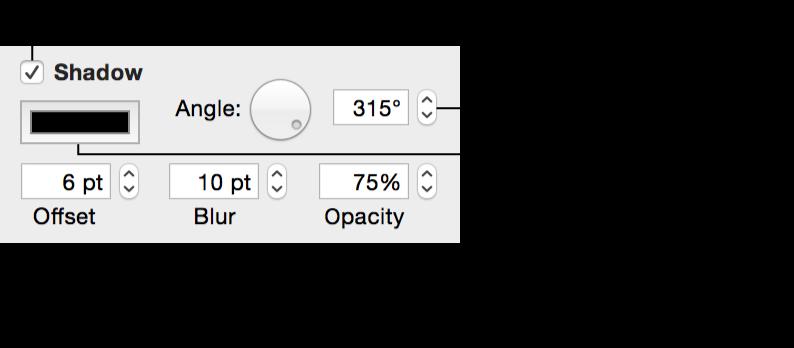 「圖形」檢閱器中的「陰影」控制項目
