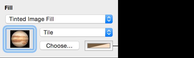 「圖形」檢閱器中的「染色影像填充」選項控制項目