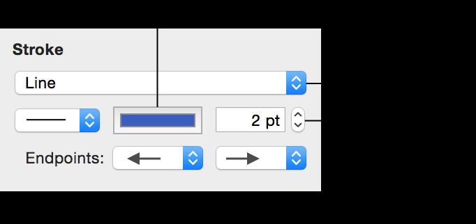 「圖形」檢閱器中的「描邊」控制項目