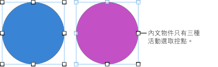 浮動和內文物件帶有制控點的範例