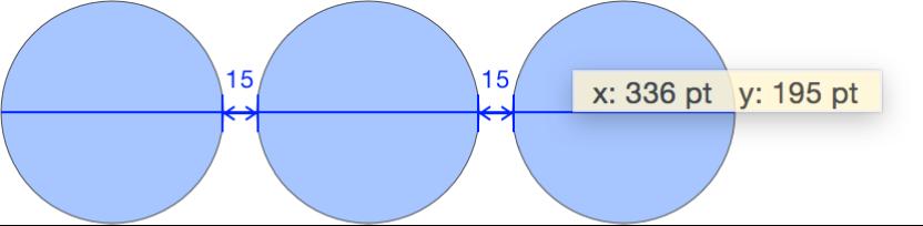 正在拖移物件,且 x 和 y 座標值顯示在覆疊中