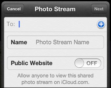 Okno viPhonu pro nastavení nového sdíleného fotostreamu spozvanými uživateli, názvem fotostreamu astavem veřejné stránky