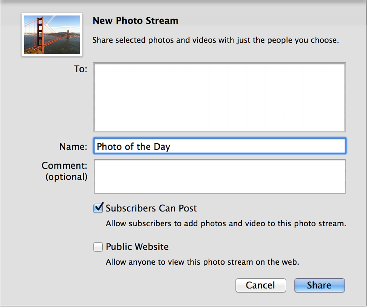 Dialogové okno Nový sdílený fotostream vaplikaci iPhoto na Macu