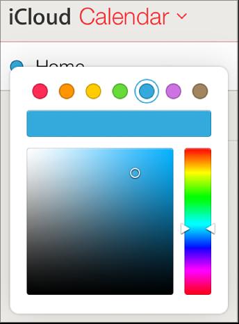 Tlačítko barvy kalendáře vseznamu kalendářů