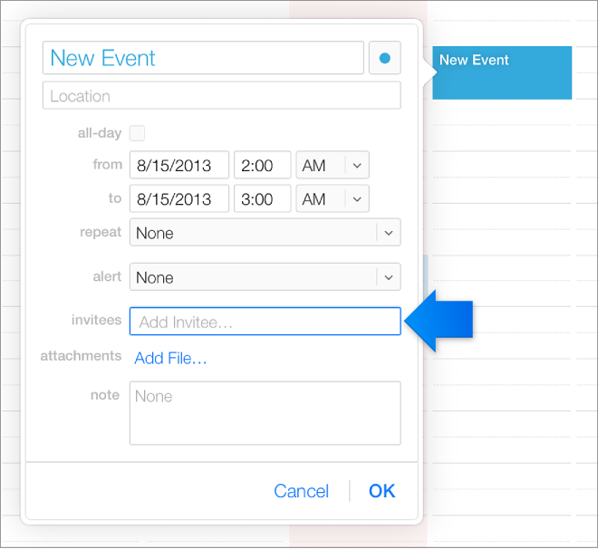 Pole pro přidání pozvaných uživatelů vokně nové události