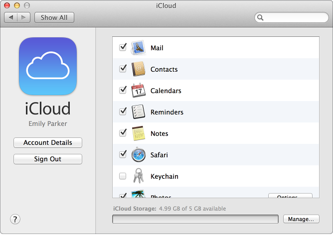 Change icloud feature settings icloud icloud help system preferences window with services selected stopboris Gallery