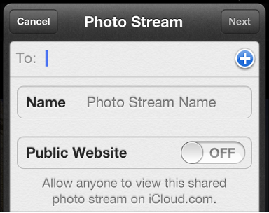 iPhone window for setting up a new shared photo stream with invitees, photo stream name, and public website status