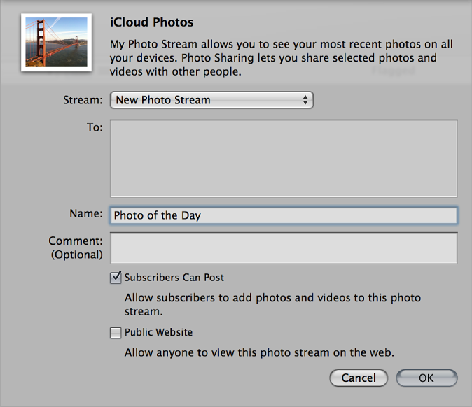 Photo Stream dialog in Aperture