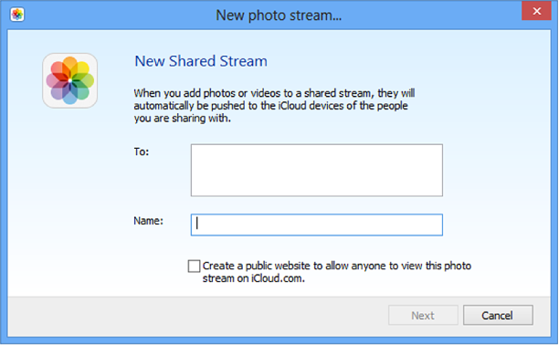 New Shared Photo Stream window on a Windows computer