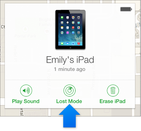 Lost Mode button in the device's Info window