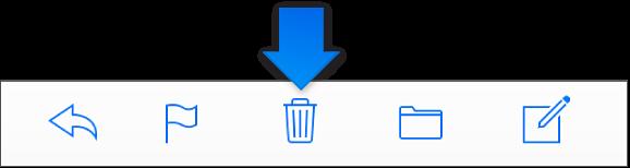 Кнопка «Удалить» на панели инструментов.