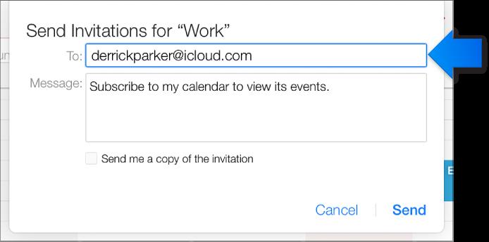 Поле «Получатель» для общего доступа к открытому календарю.