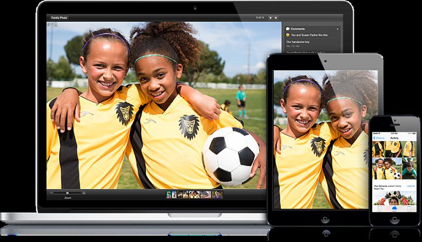 Опубликованная фотография будет отображаться на компьютере Mac и устройствах iPad и iPhone