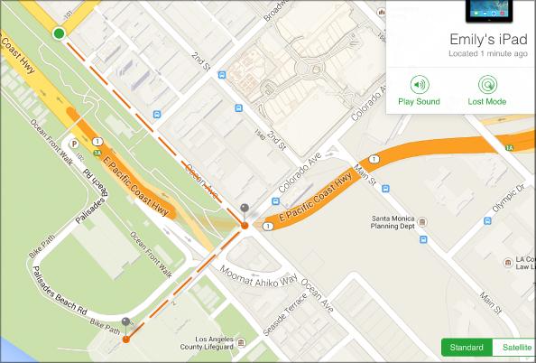 Отслеживание местоположения устройства, находящегося в режиме пропажи, на карте в приложении «Найти iPhone»