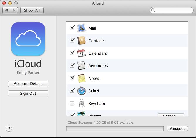 Вікно «Системні параметри» з увімкнутими службами iCloud
