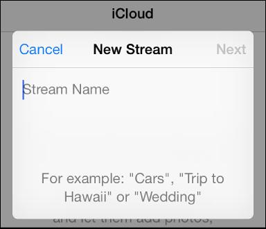 Вікно iPhone для встановлення нового спільного фотопотоку запрошених, імені фотопотоку та стану відкритого веб-сайту.