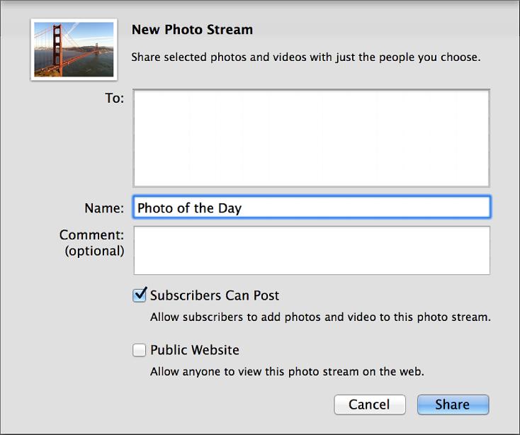 Діалогове вікно «Новий спільний фотопотік» програми iPhoto на комп'ютері Mac