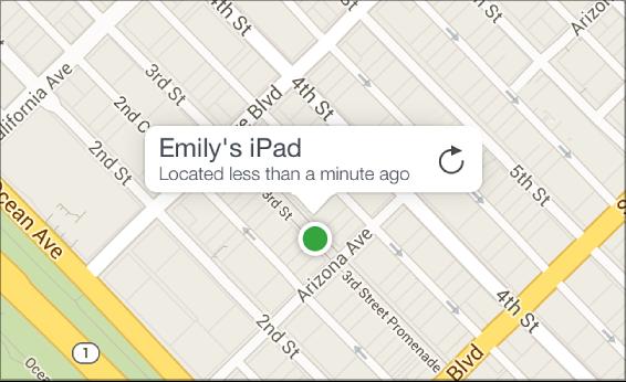 Пристрій, знайдений на карті програми «Знайти мій iPhone»