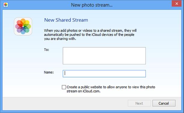 """Windows 电脑上的""""新建共享照片流""""窗口"""