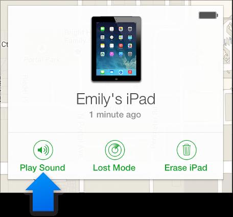 裝置「資訊」視窗中的「播放提示聲」按鈕