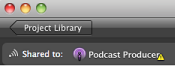 Image of the Podcast Producer icon with warning symbol.