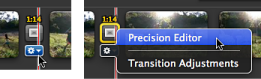 Image of Precison Editor selected in the Action pop-up menu