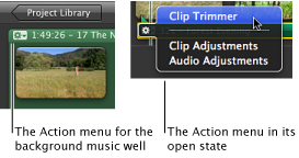 Image of Action menu for the background music well