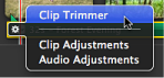 Image of pop-up menu with Clip Trimmer selected.
