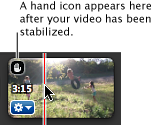 Image of hand icon in corner of stabilized video clip