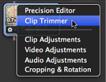 Image of Clip Trimmer selected in the Action popup menu