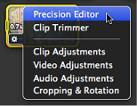 Image of Precision Editor selected in Action pop-up menu