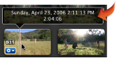 Imagem da informação da cabeça de reprodução apresentada por cima do clip de vídeo