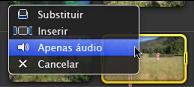 """Imagem da opção """"Apenas áudio"""" seleccionada no menu de contexto"""