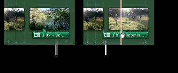 Imagem dos clips de som e marcadores de batida