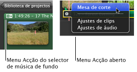 Imagem do menu Acção, no selector de música de fundo